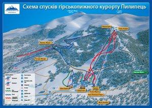 Схема спусків гірськолижного курорту Пилипець